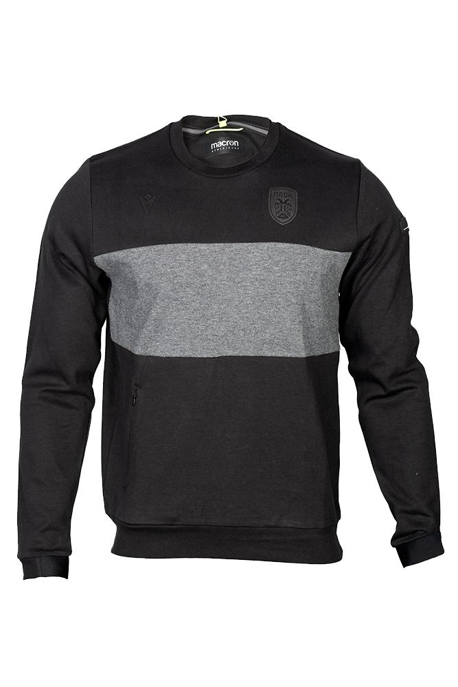 Μπλούζα ΠΑΟΚ μαύρη γκρί τσέπες 011238